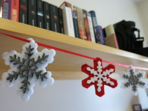 Snowflakes hanging from my shelves.